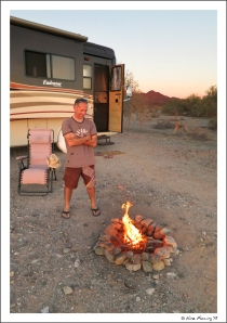 An evening fire at our boondocking site