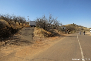 "View of the ""crazy"" sites in East Campground. RV in #5 on left w/ #4, #3 behind. These are so steep we couldn't possilbly get in. Nice views though."