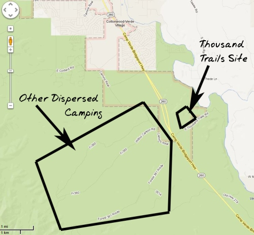 General map of the 2 boondocking areas. Download the Prescott MVUM for more details.
