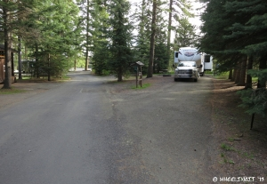 View down middle of campground. RV in site #A9 which was nicely private.